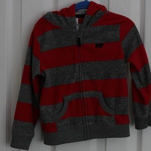 Red and Gray Stripped Fleece Hoodie